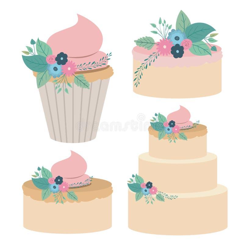 Fondo blanco con las tortas y las magdalenas coloridas del sistema stock de ilustración