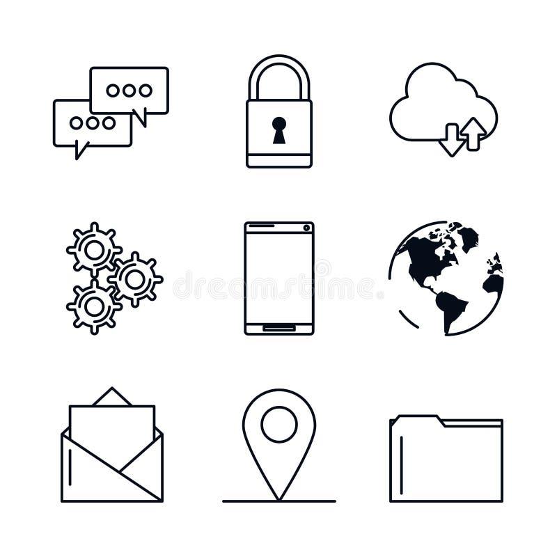 Fondo blanco con los iconos negros de la silueta de apps móviles stock de ilustración