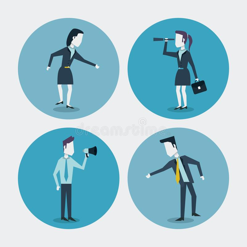 Fondo blanco con los marcos coloridos del círculo de la empresaria y hombre de negocios con la cartera y monóculo y megáfono libre illustration