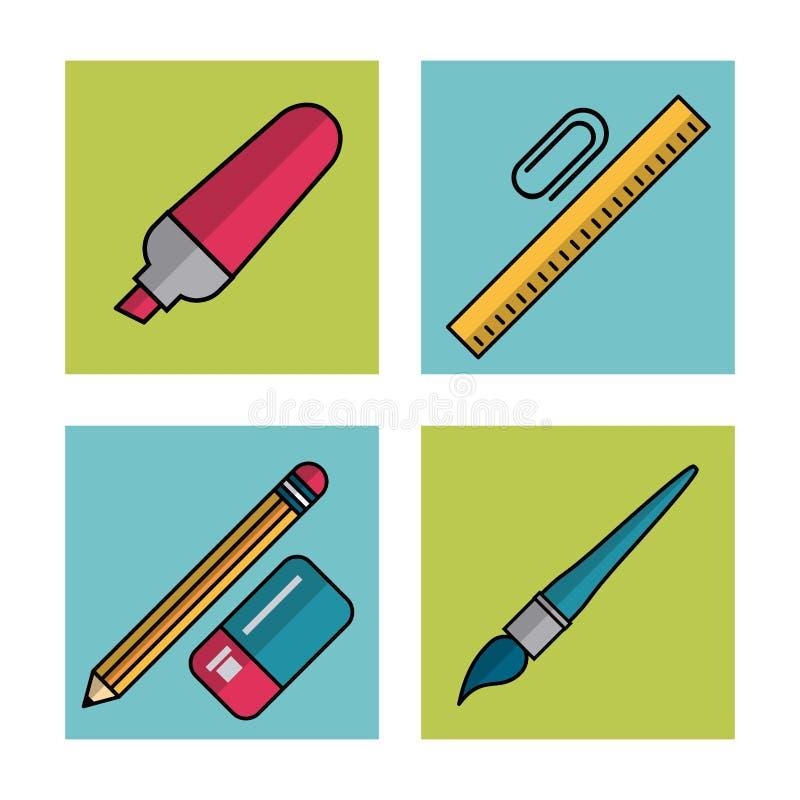 Fondo blanco con los marcos del marcador y del paperclip de los elementos de la escuela con la regla y lápiz con el borrador y el ilustración del vector