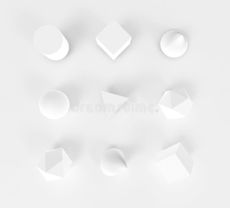 Fondo blanco 3d del sistema de los objetos de la geometría del extracto ilustración del vector