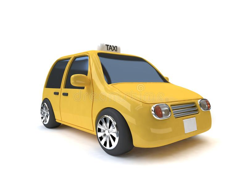 Fondo blanco 3d del taxi del mini-eco estilo amarillo del coche rendir estilo de la historieta libre illustration