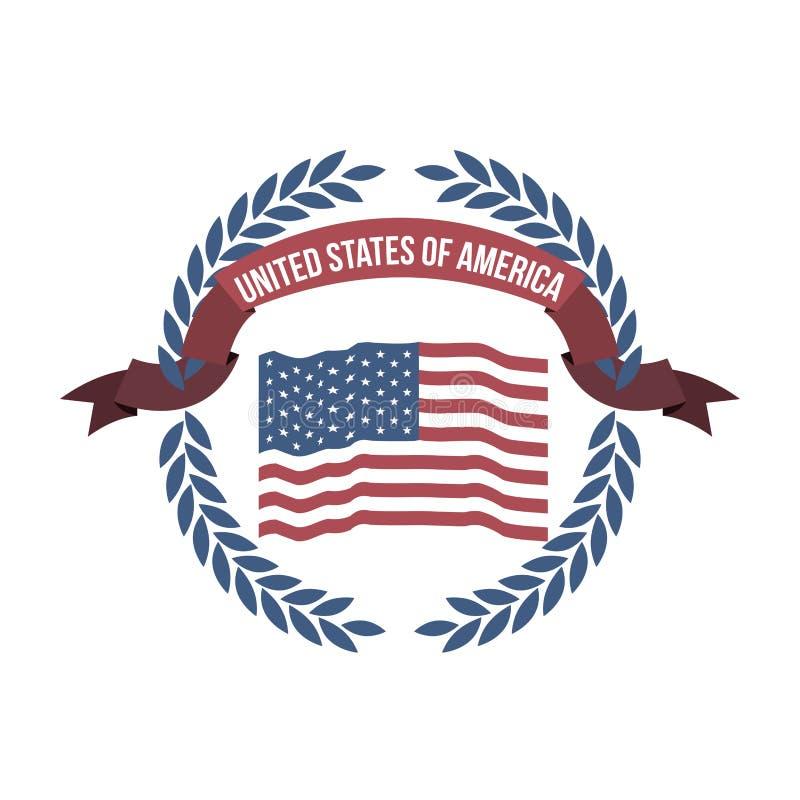 Fondo blanco de la bandera opaca los Estados Unidos de América del color con el arco de hojas y de la cinta de la etiqueta stock de ilustración