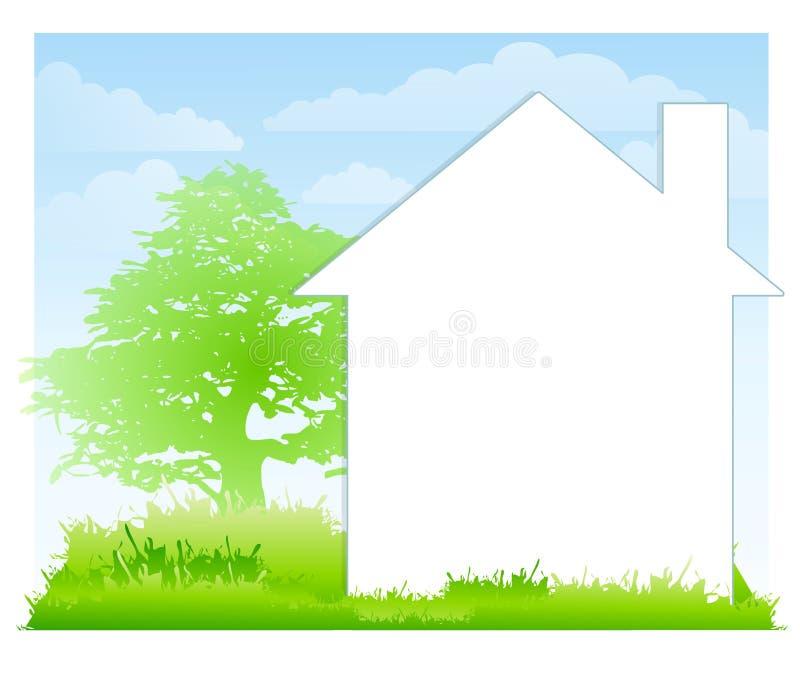 Fondo blanco de la casa y de la yarda ilustración del vector