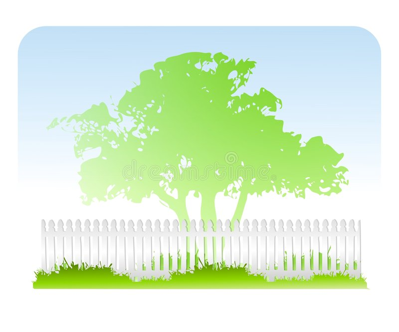 Fondo blanco de la cerca de la hierba del árbol stock de ilustración