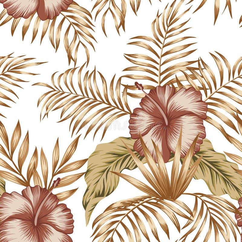 Fondo blanco de la composición del hibisco de las hojas de palma botánicas tropicales del oro ilustración del vector