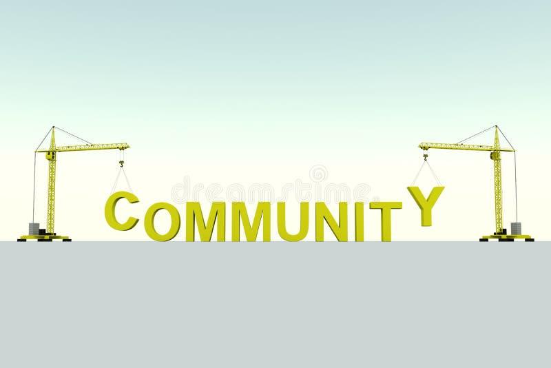 Fondo blanco de la grúa del concepto de la cohesión de la comunidad ilustración del vector