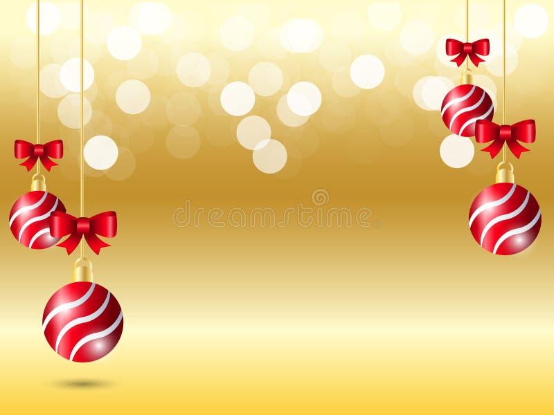 Fondo blanco de la luz del bokeh de la pendiente amarilla Fondo de la Navidad con la bola roja de la cinta de la ejecución y la d libre illustration