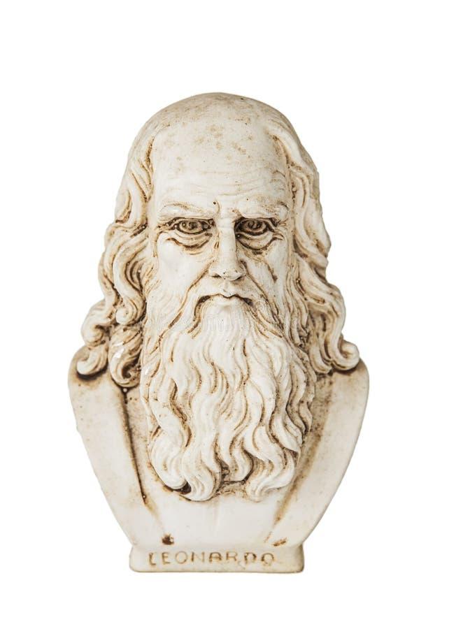 Fondo blanco de la opinión frontal de Leonardo da Vinci fotografía de archivo libre de regalías