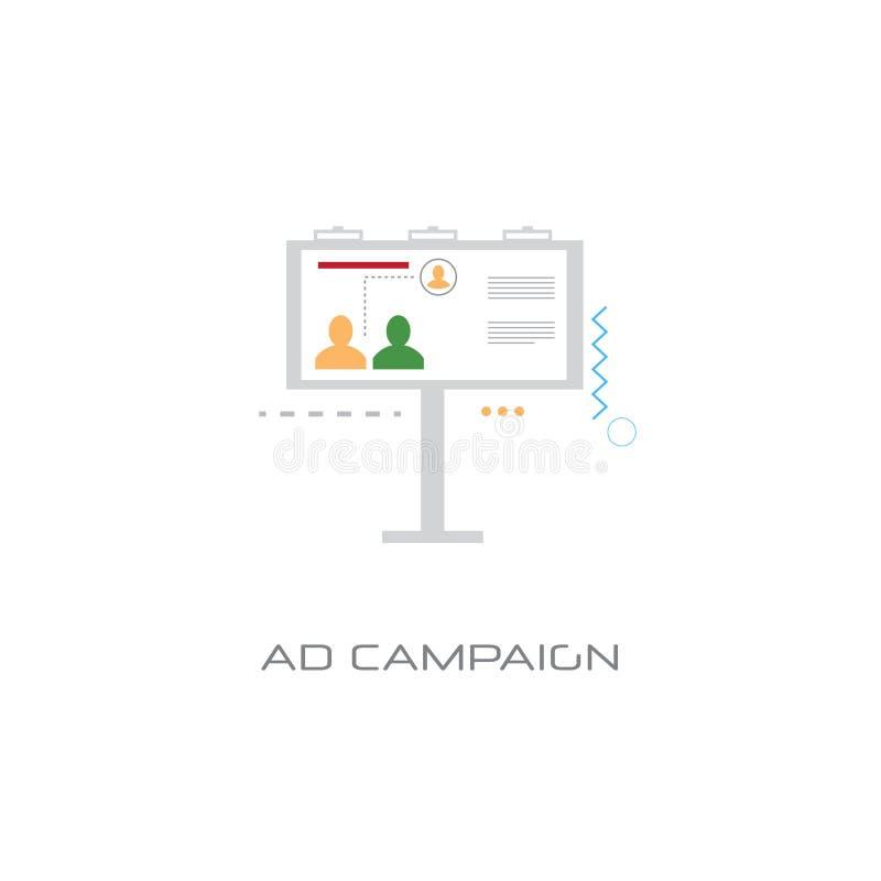 Fondo blanco de la optimización del márketing del concepto de la campaña publicitaria de la cartelera de publicidad libre illustration