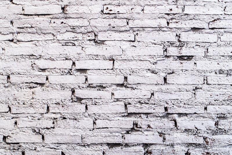 Fondo blanco de la pared de ladrillo en sitio rural Gray Bricks Wall Pattern blanco Idea del fondo imágenes de archivo libres de regalías