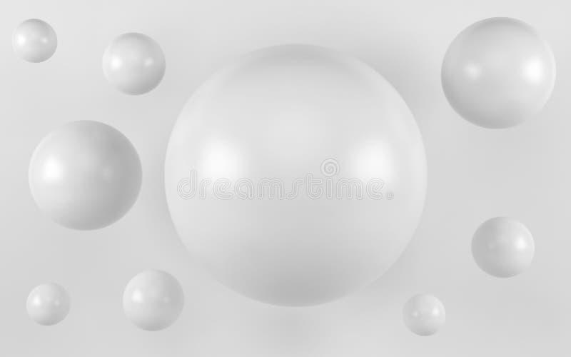 Fondo blanco de la perla del shpere 3d rinden stock de ilustración