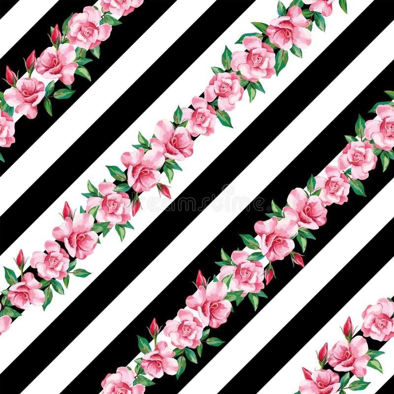 Fondo blanco de la raya del negro inconsútil del modelo de Rose libre illustration