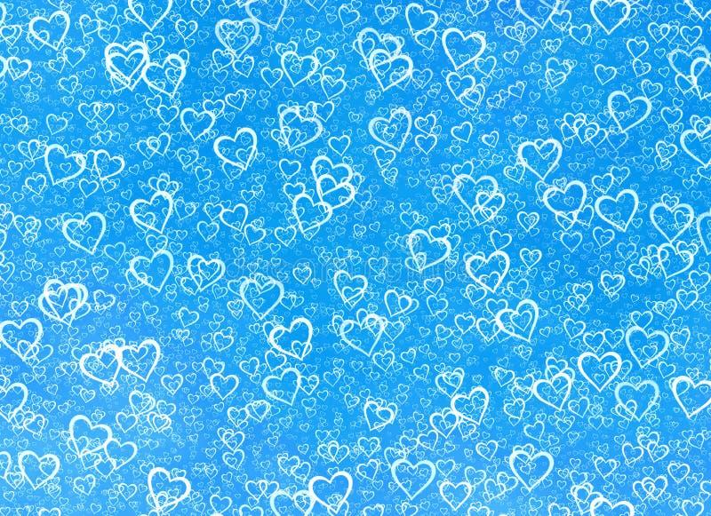 Fondo blanco de los corazones en fondos de un invierno del azul. Textu del amor stock de ilustración