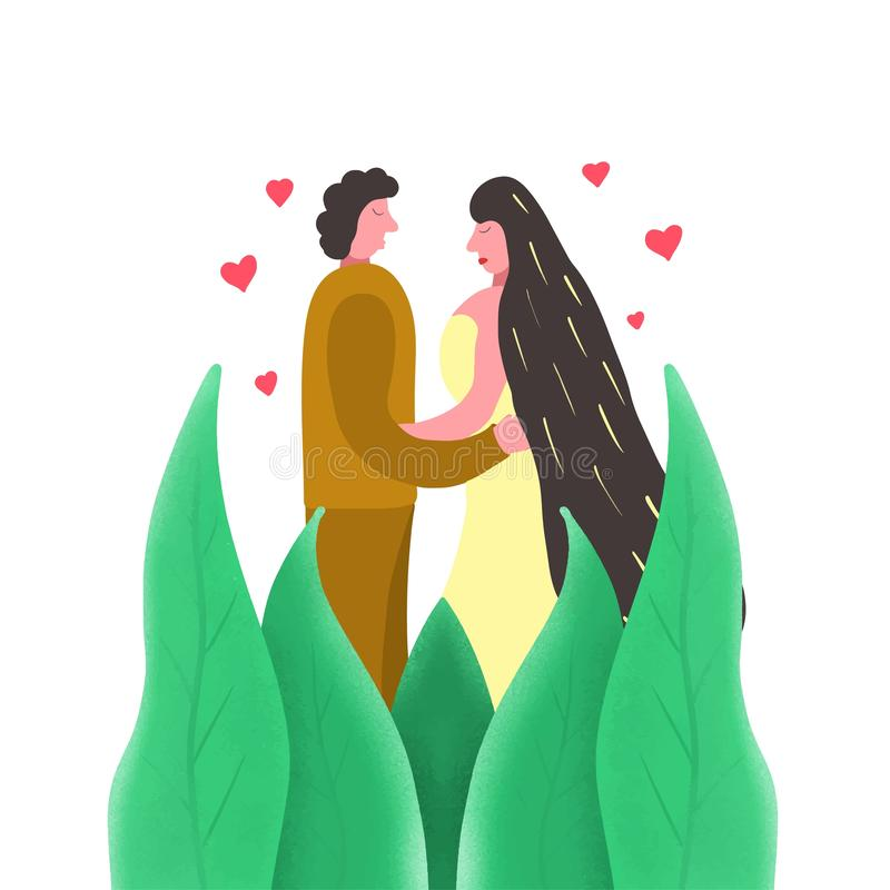 Fondo blanco de moda de la pareja de matrimonios, gran diseño para cualquier propósitos Ejemplo creativo Recienes casados jovenes libre illustration