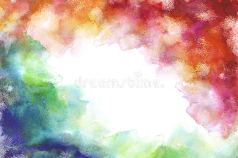 Fondo blanco de pintura de la mano de la acuarela del estilo del grung del arco iris ilustración del vector