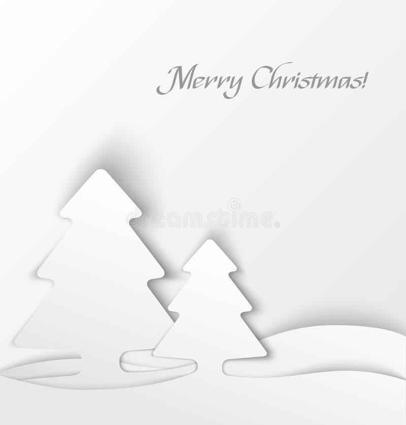 Fondo blanco del applique del árbol de navidad libre illustration