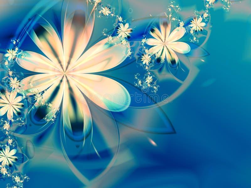 Fondo blanco del azul de la flor del fractal stock de ilustración