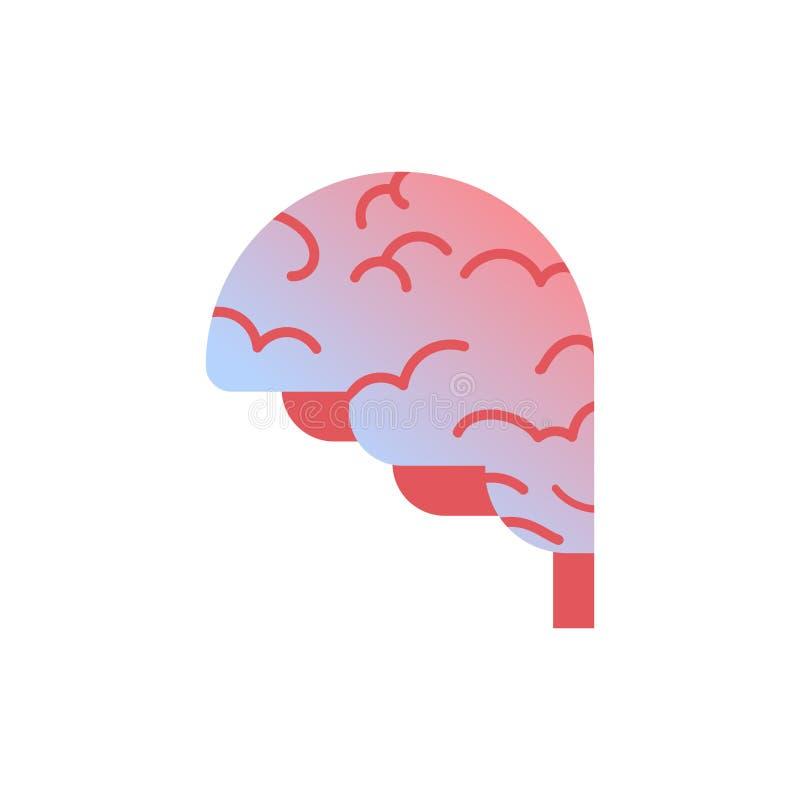 Fondo blanco del concepto médico de la atención sanitaria de la anatomía del órgano humano del icono del cerebro stock de ilustración