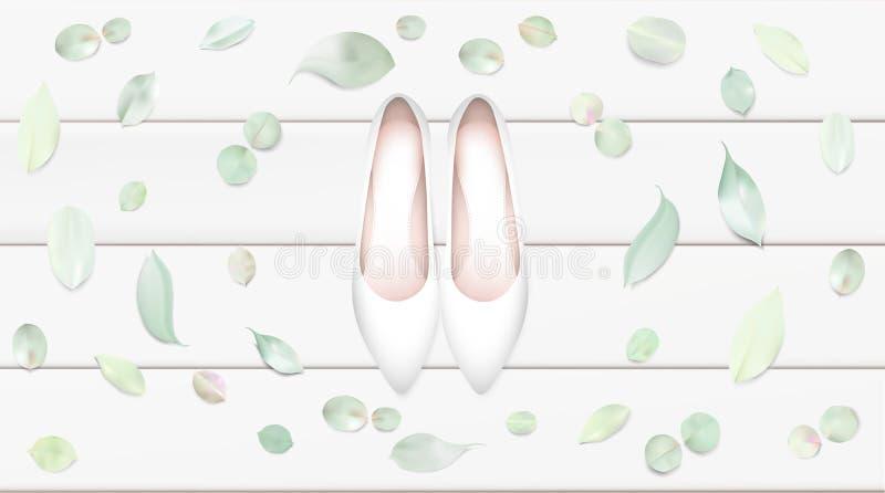 Fondo blanco del ejemplo del vector de los zapatos ilustración del vector