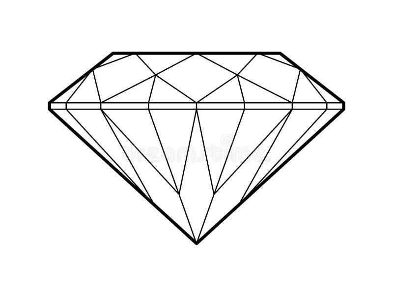 Fondo blanco del esquema del símbolo del ejemplo del diamante ilustración del vector