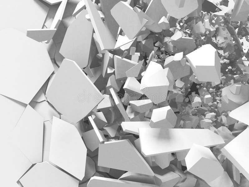 Fondo blanco del extracto de la superficie de la destrucción de la explosión agrietada ilustración del vector
