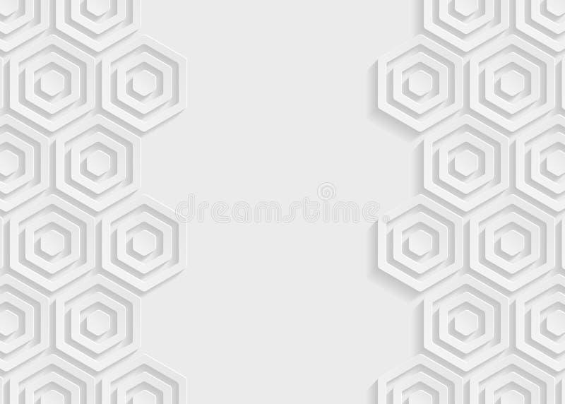 Fondo blanco del extracto del papel del hexágono stock de ilustración