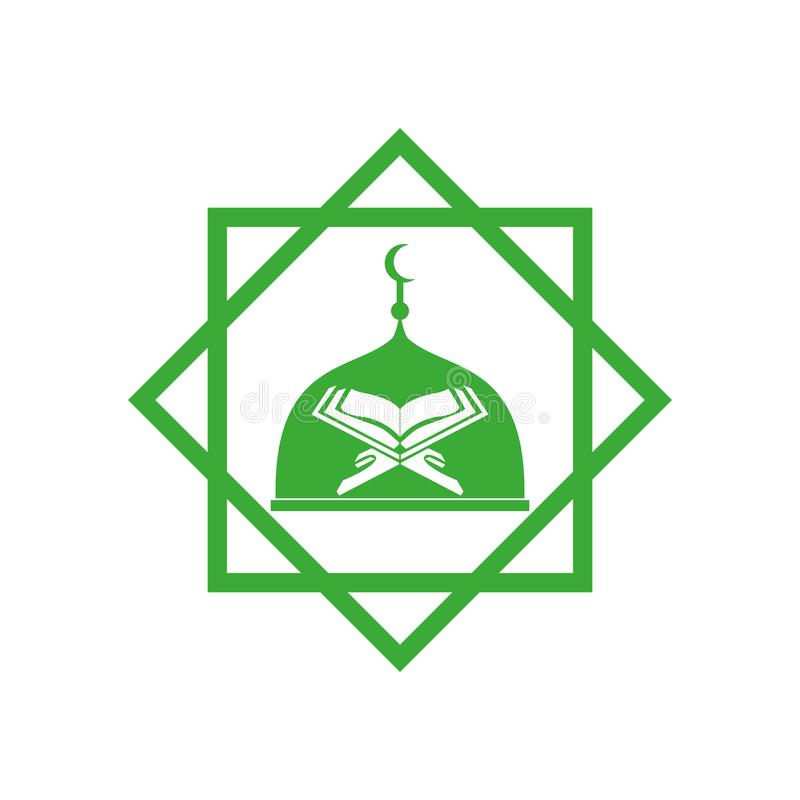 Fondo blanco del icono del vector de la mezquita y del kuran stock de ilustración