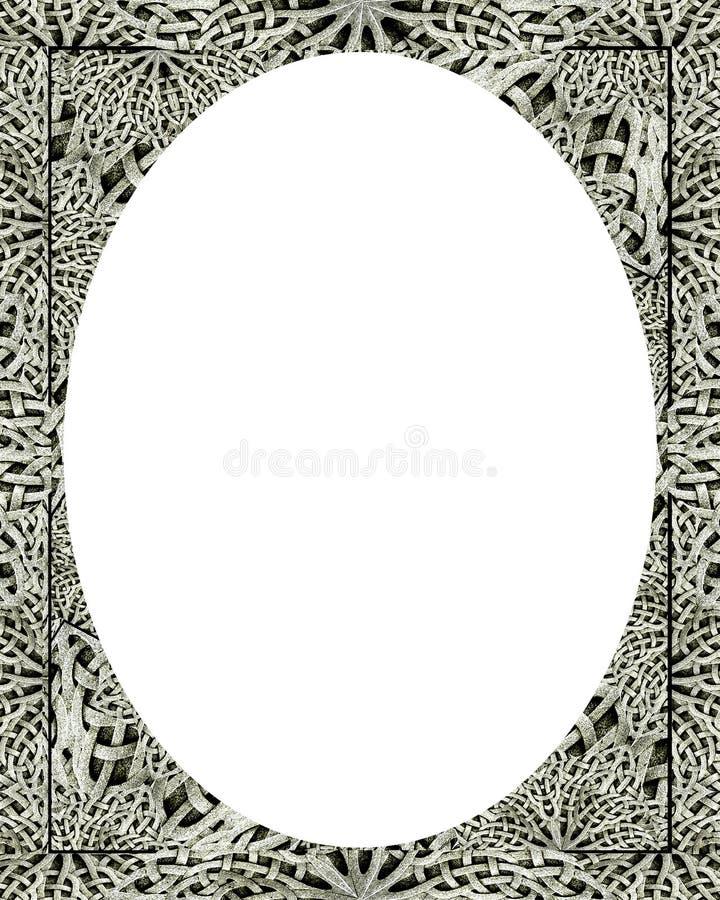 Fondo blanco del marco del círculo con las fronteras adornadas libre illustration