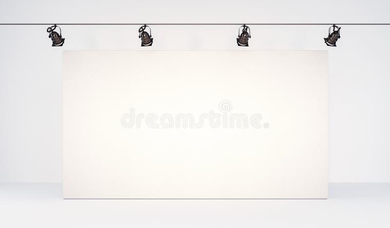 Fondo blanco en blanco grande de la maqueta del cartel stock de ilustración