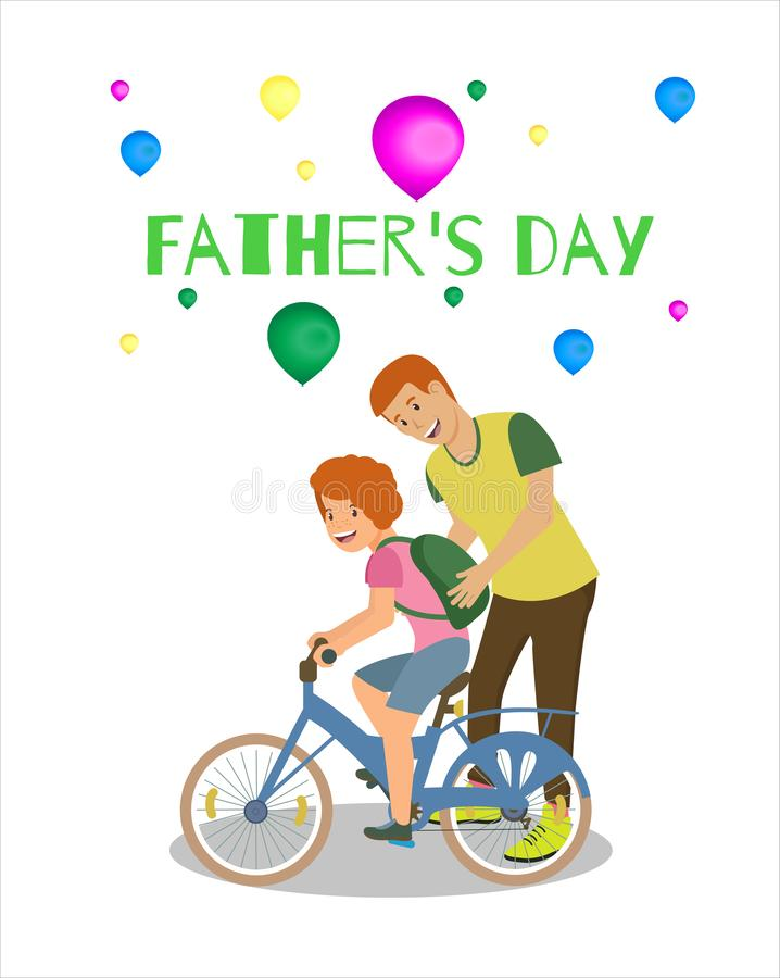 Fondo blanco feliz de la tarjeta de felicitación del día de padres stock de ilustración