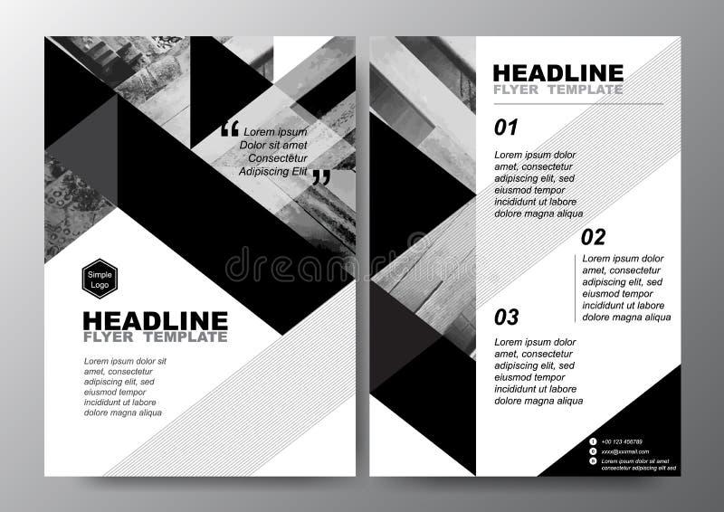 Fondo blanco negro abstracto del triángulo para la plantilla mínima del vector de la disposición de diseño del aviador del follet stock de ilustración