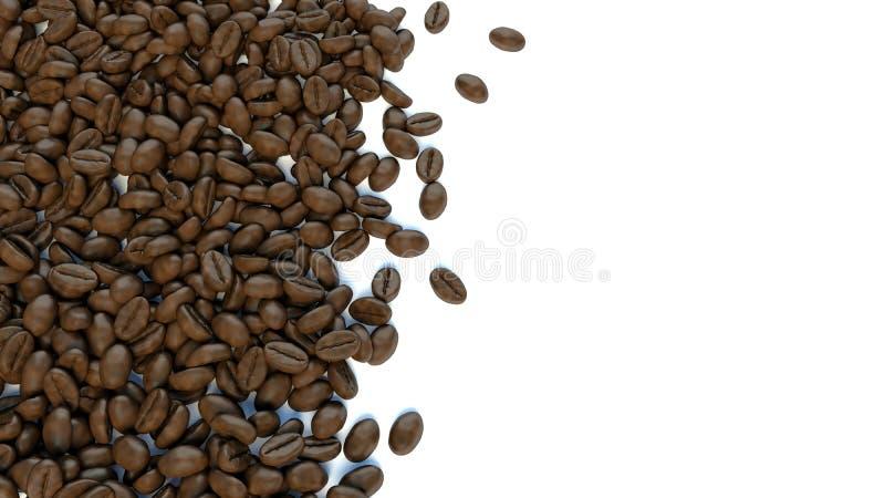 Fondo blanco para el texto rodeado por los granos de café ilustración del vector