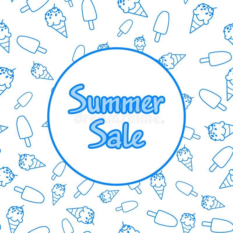 fondo blanco para la venta del verano, con el marco y el modelo inconsútil del helado Plantilla del contexto para el diseño de ba libre illustration