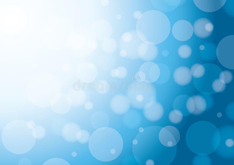 Fondo blanco y azul abstracto con el bokeh stock de ilustración