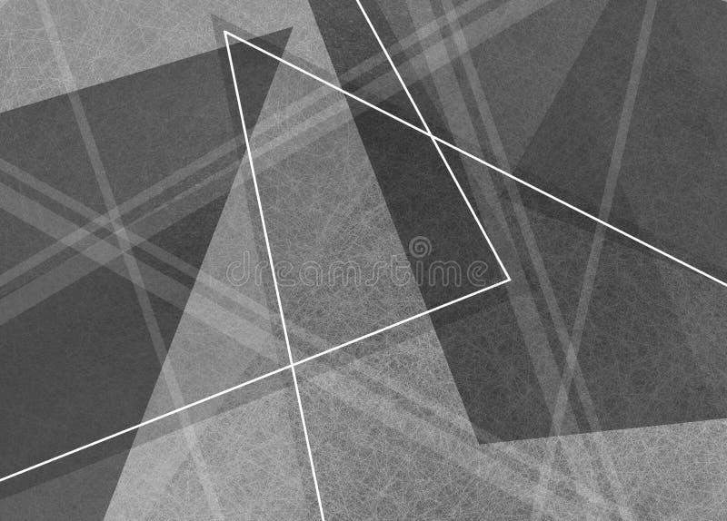 Fondo blanco y negro abstracto con las líneas y las formas del triángulo ilustración del vector