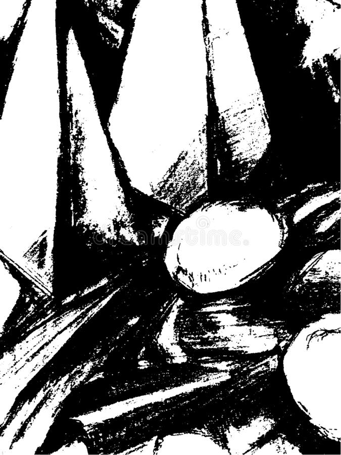 Fondo blanco y negro abstracto con los elementos de la geometría en el estilo de tramar las líneas, rociadas, rasguños ilustración del vector