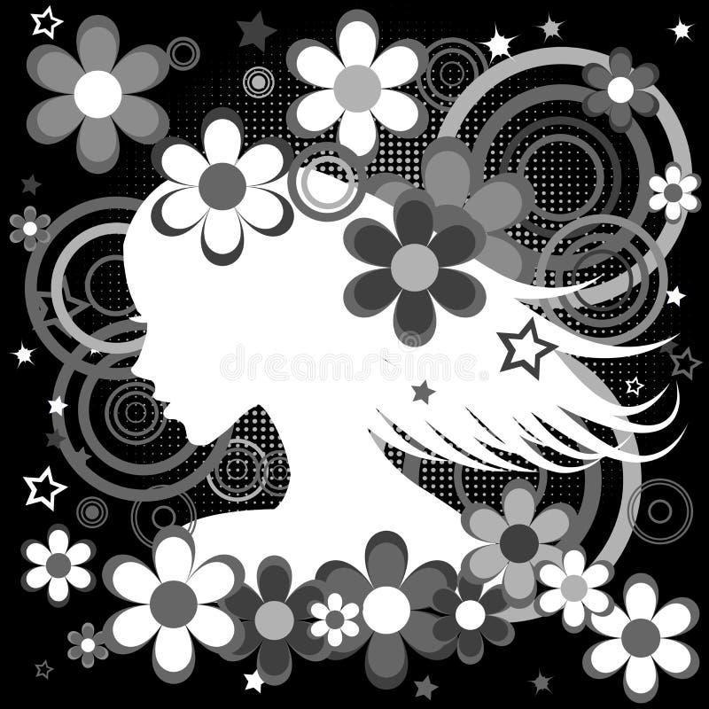 Fondo blanco y negro abstracto con perfil de la mujer, flores a stock de ilustración