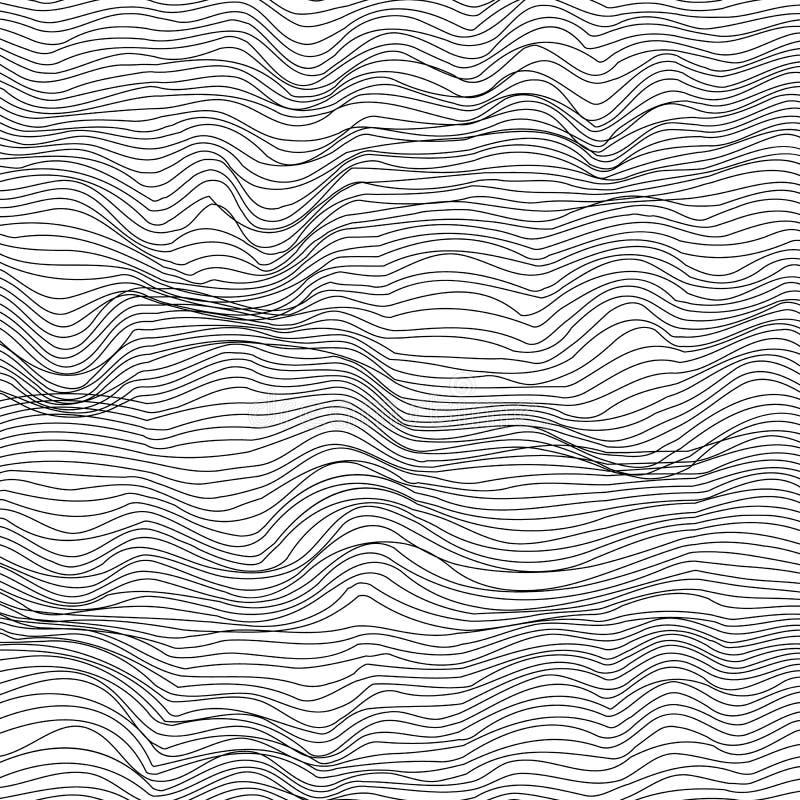 Fondo blanco y negro abstracto de la textura de la onda stock de ilustración