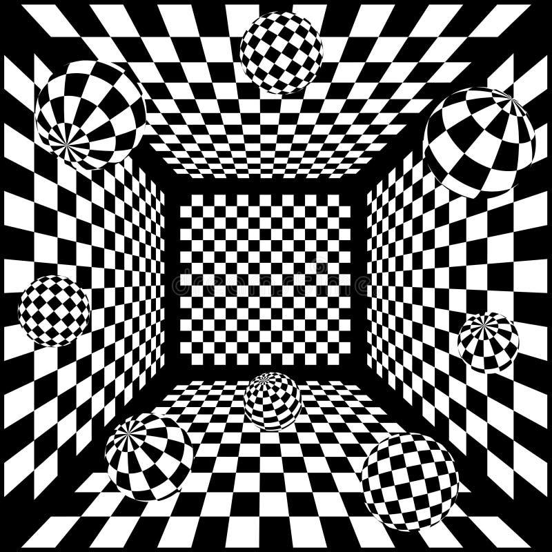 fondo blanco y negro abstracto del ajedrez 3D con stock de ilustración