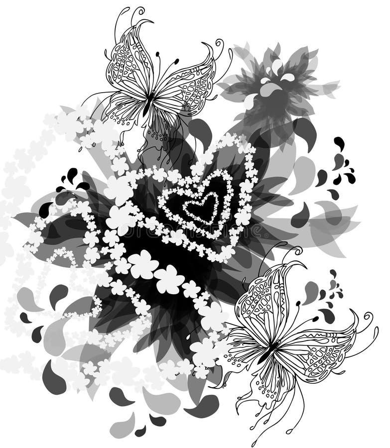 Fondo blanco y negro con las mariposas libre illustration