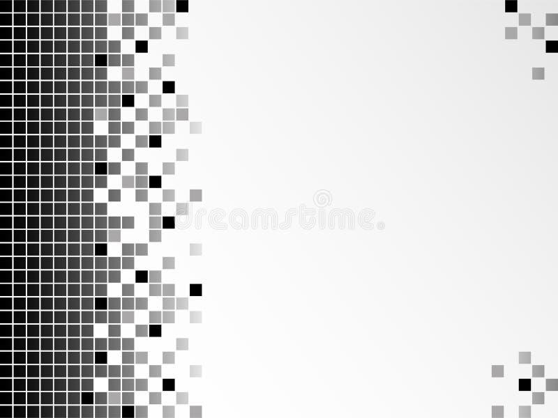 Fondo blanco y negro con los pixeles ilustración del vector