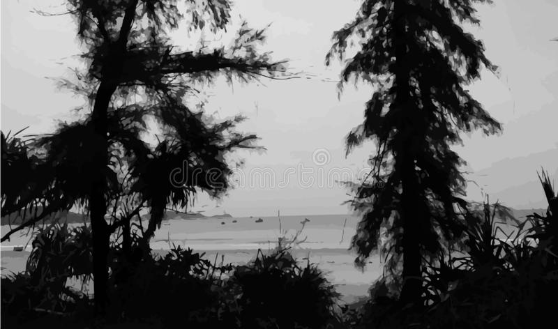 Fondo blanco y negro de la costa, paisaje marino libre illustration