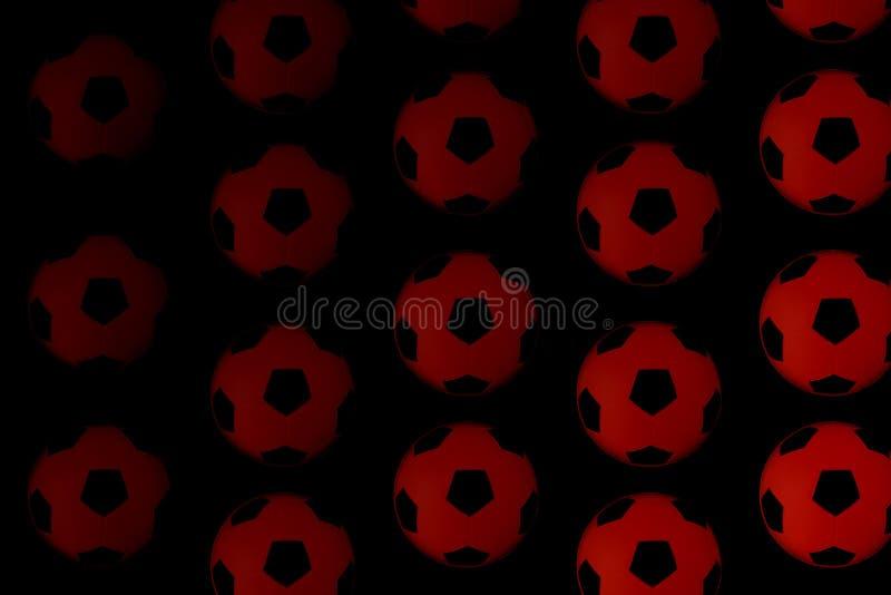 Fondo blanco y negro de muchos balones de fútbol Bolas del fútbol en un agua foto de archivo