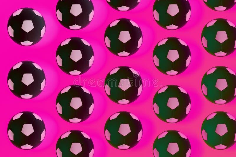 Fondo blanco y negro de muchos balones de fútbol Bolas del fútbol en un agua fotos de archivo libres de regalías