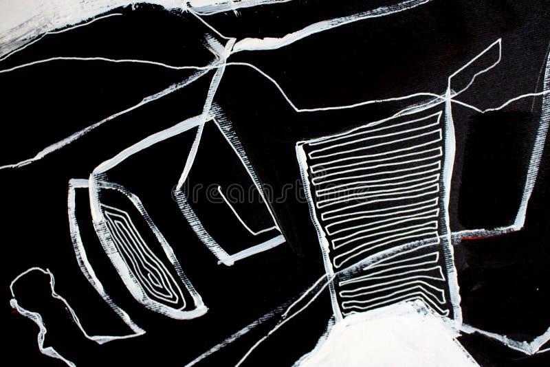 Fondo blanco y negro del arte abstracto del arte Pintura de acr?lico en lona Textura del color Fragmento de las ilustraciones pin ilustración del vector