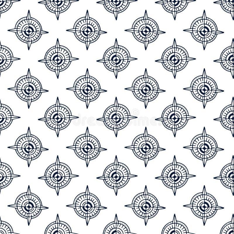 Fondo blanco y negro del vintage Modelo incons?til del comp?s Diseño de la materia textil de Minimalistic Modelo de repetición ná ilustración del vector