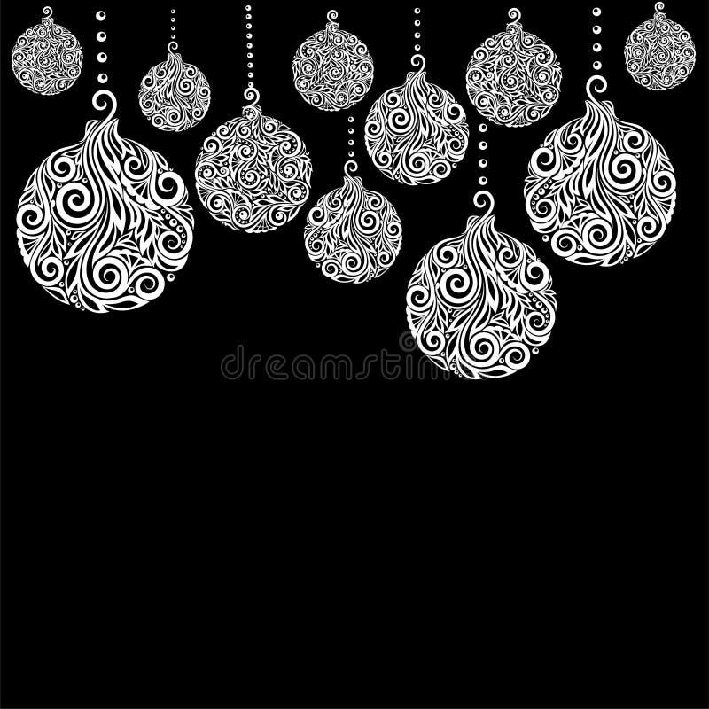 Fondo blanco y negro hermoso de la Navidad con el colgante de las bolas de la Navidad Grande para las tarjetas de felicitación ilustración del vector