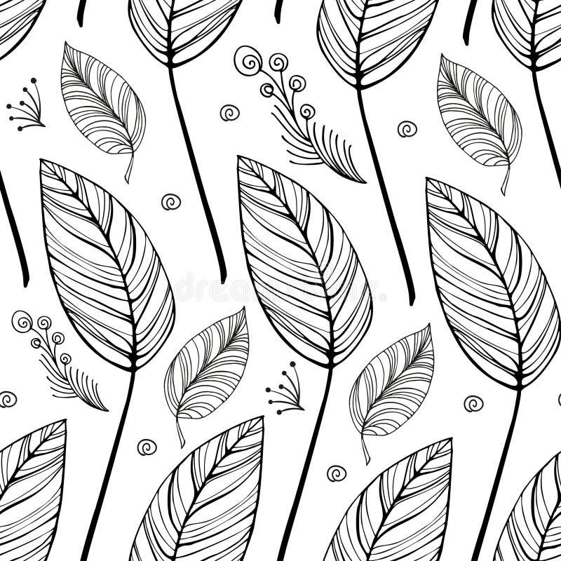 Fondo blanco y negro incons?til del vintage con las hojas y los rizos ligeros y ramita decorativa con las bayas libre illustration