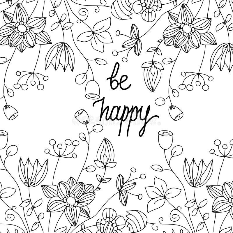 Fondo blanco y negro monocromático con linear floral libre illustration